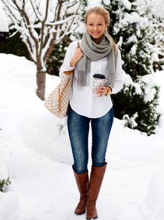 White + Grey + Boots = Winter style Winter spin on the classy skinnys and white button down