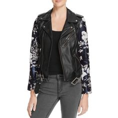 14448eff22 Linea Pelle Womens Floral Sleeve Zip-Up Leather Blazer