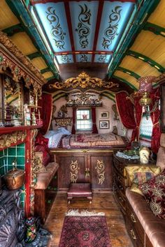 The inside of a traditional Roma gypsy caravan