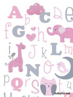 PINK GRAY nursery, Grey pink bedding, Baby girl wall art, alphabet print, ABC art, baby elephant print, animal alphabet, kids 8x10 print - http://babyfur.net/pink-gray-nursery-grey-pink-bedding-baby-girl-wall-art-alphabet-print-abc-art-baby-elephant-print-animal-alphabet-kids-8x10-print.html