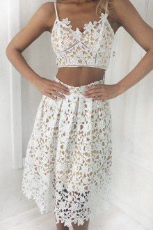 Crochet Flower Cami Top + Midi Skirt Twinset