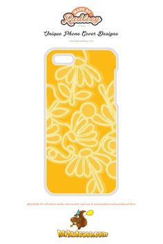An Alternative Floral Design on Yellow phone case available for all phone makes and models and can be personalised and purchased from www.mrnutcase.com