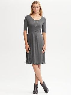 Perfect Summer To Fall Transition Piece!  Pleated knit dress | Banana Republic