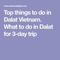 Top things to do in Dalat Vietnam. What to do in Dalat for 3-day trip
