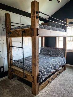 The BIG SKY bunk beds ---- loft bed bunk bed frame full bed king size bed frame room furniture adult bunk beds queen bunk bed full bunk beds space-saving bunk beds for small Loft Bed Plans, Bed Design, Diy Bunk Bed, Kids Room Furniture, Cabin Bed, King Bed Frame, Bed, Diy Loft Bed, Bunk Bed Designs