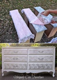 Lace on furniture - then use spray paint for a gorgeous re-design!