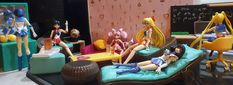 """Figuarts sailor senshi hanging out with their Lori """"Loft To Love"""" furniture (study desk was """"modified"""" with a hack saw to scale better with the figures) Study Desk, Hanging Out, Sailor Moon, Toddler Bed, Scale, Loft, Furniture, Home Decor, Desk For Study"""
