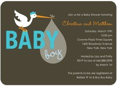 Silly Stork - Baby Shower Invitations - Umbrella - Paradise - Gray : Front