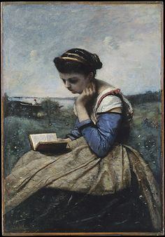 A Woman Reading Camille Corot  (French, Paris 1796–1875 Paris ) Date: 1869 and 1870 Medium: Oil on canvas Dimensions: 21 3/8 x 14 3/4 in. (54.3 x 37.5 cm) Classification: Paintings Credit Line: Gift of Louise Senff Cameron, in memory of her uncle, Charles H. Senff, 1928 Accession Number: 28.90