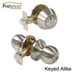 33.99$  Buy here - http://aligv7.shopchina.info/go.php?t=32750353407 - Probrico Round Stainless Steel Keyed Alike Entrance Door Lock With One Side Deadbolt Satin Nickel Door Handle Knob DL607ET-101SN  #magazine