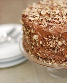 Chocolate Kahlua cake with salted chocolate buttercream