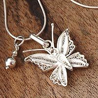 Silver filigree necklace, 'Wings' by NOVICA