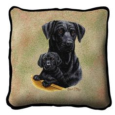 Black Labrador Retriever Dog and Puppy Portrait Pillow