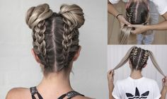 Space Buns - Double Bun - Upside down Dutch Braid - DIY tutorial!