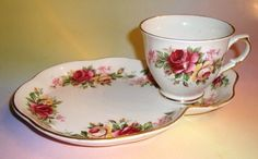 Old Foley Roses Tea Cup and Saucer Set Tennis Snack Set