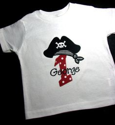 Personalized First Birthday Pirate Shirt with Age or Initial and Pirate's Hat.  Short Sleeve Shirt, Boys, Red dots, black gingham. $18.00, via Etsy.