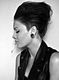 #gauges #stretches #hair #fashion #rock #smoke #cigarette #nose #piercing