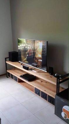 mesa de tv industrial cajones metálicos madera pinotea