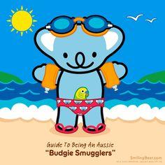 Guide To Being An Aussie: Budgie Smugglers Animated GIF here: http://smilingbear.com/blog/guide-to-being-an-aussie-budgie-smugglers  #budgiesmugglers #speedo #speedos #smilingbear #smilemore #koala #koalabear #bear #smile #smiling #happy #cute #kawaii #australia #aussie #sydney #beach #manga #art #design #illustration #cartoon #characterdesign #fun #GIF #otaku #plush #iphonesia #kawaiigurls #kawaiioftheday
