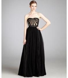 Aidan Mattox black sequined bodice strapless gown