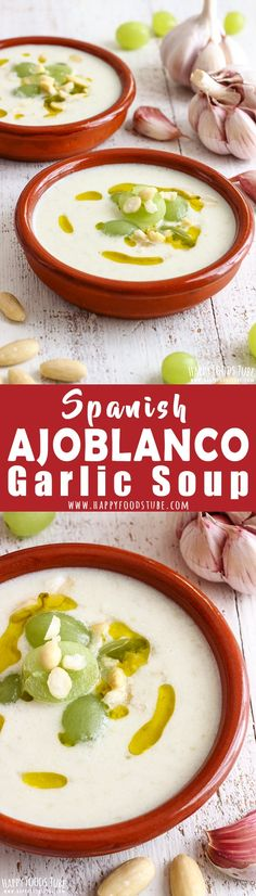Spanish ajoblanco is cold garlic soup that will surprise you with its taste. It's rich, refreshing and full of Mediterranean flavors! Cold Spanish soup. White Gazpacho