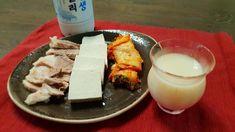 Rainy day in Seoul calls for kimchi! accompanied by tofu boiled pork and makgeoli. Korean Food, Kimchi, Tofu, Seoul, Glass Of Milk, Feta, Cheese, Korean Cuisine