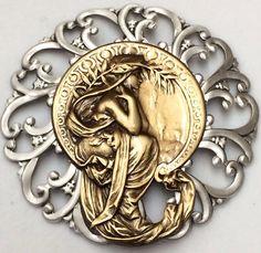 "Large 2 3 4"" Sterling Overlay Stamped Filagree Brass ""Art Nouveau"" Button | eBay"