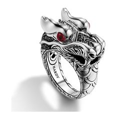 John Hardy Naga Dragon Head Black Sapphire Silver Ring with Ruby Eyes ($795) ❤ liked on Polyvore featuring jewelry, rings, accessories, vampire, black silver ring, black silver jewelry, black ring, john hardy jewelry and silver jewellery