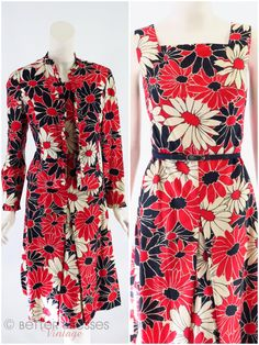 Dress and jacket set from the 1960s or early 70s in red, white, and blue bold floral print. The dress has a squared neckline and flattering A-line skirt with inverted front pleat. Thread belt loops. C