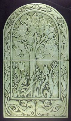 ceramic tile mural in celydon....adapted from a William Morris drawing. I DO believe that there will be a magical spot on the Wagon....
