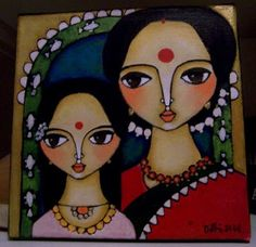 Doe eyed beauties decked in traditional Indian sarees, big bindis, curly hair, parrots, leaves flowers, these are some of the elements I hav...