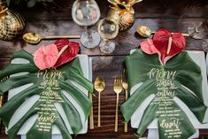 gold calligraphy on leaves tropical wedding tropical wedding inspiration weddings at dillingham ranch vanessa hicks photography