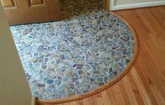Slate mosaic tile transition to hardwood floor
