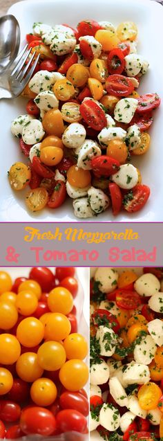 Fresh Mozzarella And Tomato Salad Cold Side Dishes, Healthy Side Dishes, Healthy Snacks, Mozarella, Fresh Mozzarella, Tomato Mozzarella Salad, Summertime Salads, Vegetarian Recipes, Healthy Recipes
