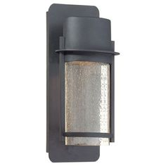 Artisan Lane Black One-Light Outdoor Wall Mount with Clear Seeded Glass