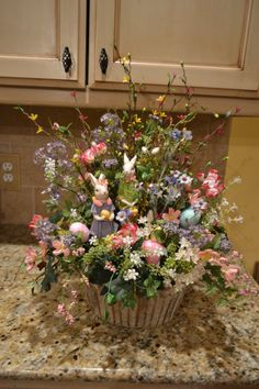 Mr. And Mrs. Bunny Arrangement by kristenscreations on Etsy