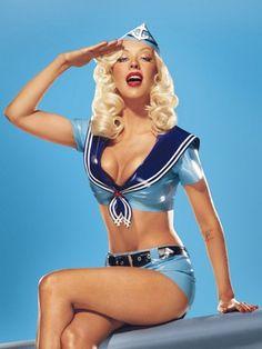 Christina Aguilera nautical style
