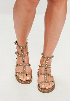 46e91a60490 Brown Studded Gladiator Sandals Leather Gladiator Sandals