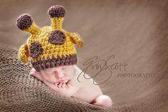 Hand crochet Giraffe Hat. Adorable!