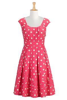 Polka dot print poplin dress
