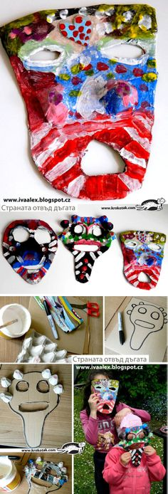 African masks from paper (papier-mache) by JannieS Diy For Kids, Crafts For Kids, Arts And Crafts, African Masks, African Art, Paper Mache Projects, Paper Mache Mask, African Crafts, Paper Animals