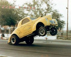 40 Willys Gasser Doing the Common Wheelie Stand!