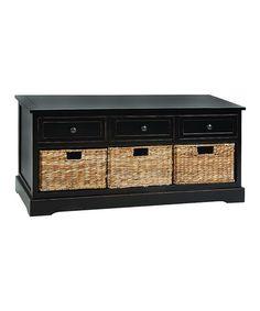 Look at this #zulilyfind! Black Drawer Basket Bench Set #zulilyfinds     189.99