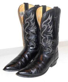 Nocona Men's Black Leather Western Cowboy Boot Size 11.5 D #Nocona #CowboyWestern