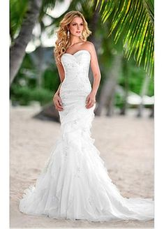 Sweetheart Mermaid Style Organza & Satin Strapless Wedding Dress For Your Beach Wedding