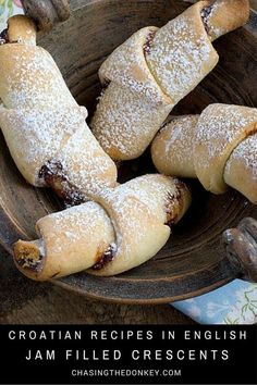 Croatian Recipes: Mama's Jam Filled Crescents (Kiflice) Croatian recipes: Kiflice bring back fond memories from my childhood. Mama would make them & my brother, and I would hoover them down instantly. Baking Recipes, Cookie Recipes, Dessert Recipes, Dessert Bread, Bread Recipes, Kiflice Recipe, Croation Recipes, Bosnian Recipes, Hungarian Recipes