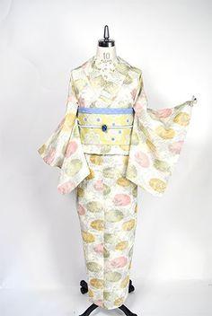 水玉フラワーモダンポップな半幅帯(クリームイエロー) - アンティーク着物・リサイクル着物のオンラインショップ 姉妹屋