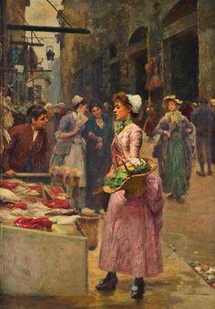 Alberto Pisa~ (Italian Painter 1864-1931 ~ The Fish Stall