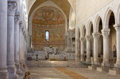 Photo about Interior of the Basilica of Aquileia, Italy. Image of aquileia, column, aisle - 35975784 Trieste, Baroque Architecture, Church Interior, Famous Places, Northern Italy, Romanesque, World Heritage Sites, Beautiful World, Taj Mahal