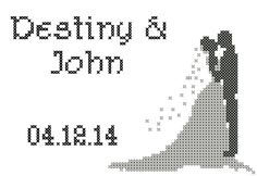 Bride & Groom Silhouette Cross Stitch Pattern/Bride and